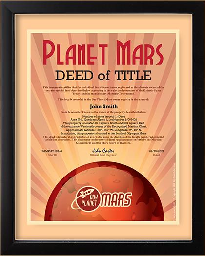 Planet Mars Land Deed