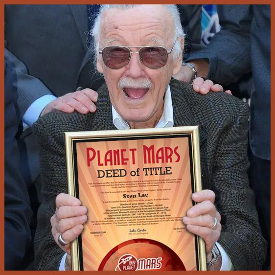 Stan Lee Planet Mars Deed
